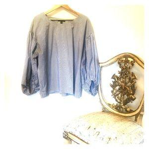 Seer sucker blue & white balloon sleeved shirt